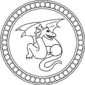Drachen - Mandala Ausmalbild für Kinder Drachen
