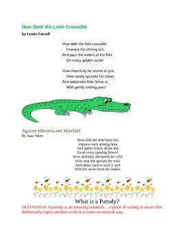 Writing A Parody Poem Activity How Doth The Little Crocodile Writing