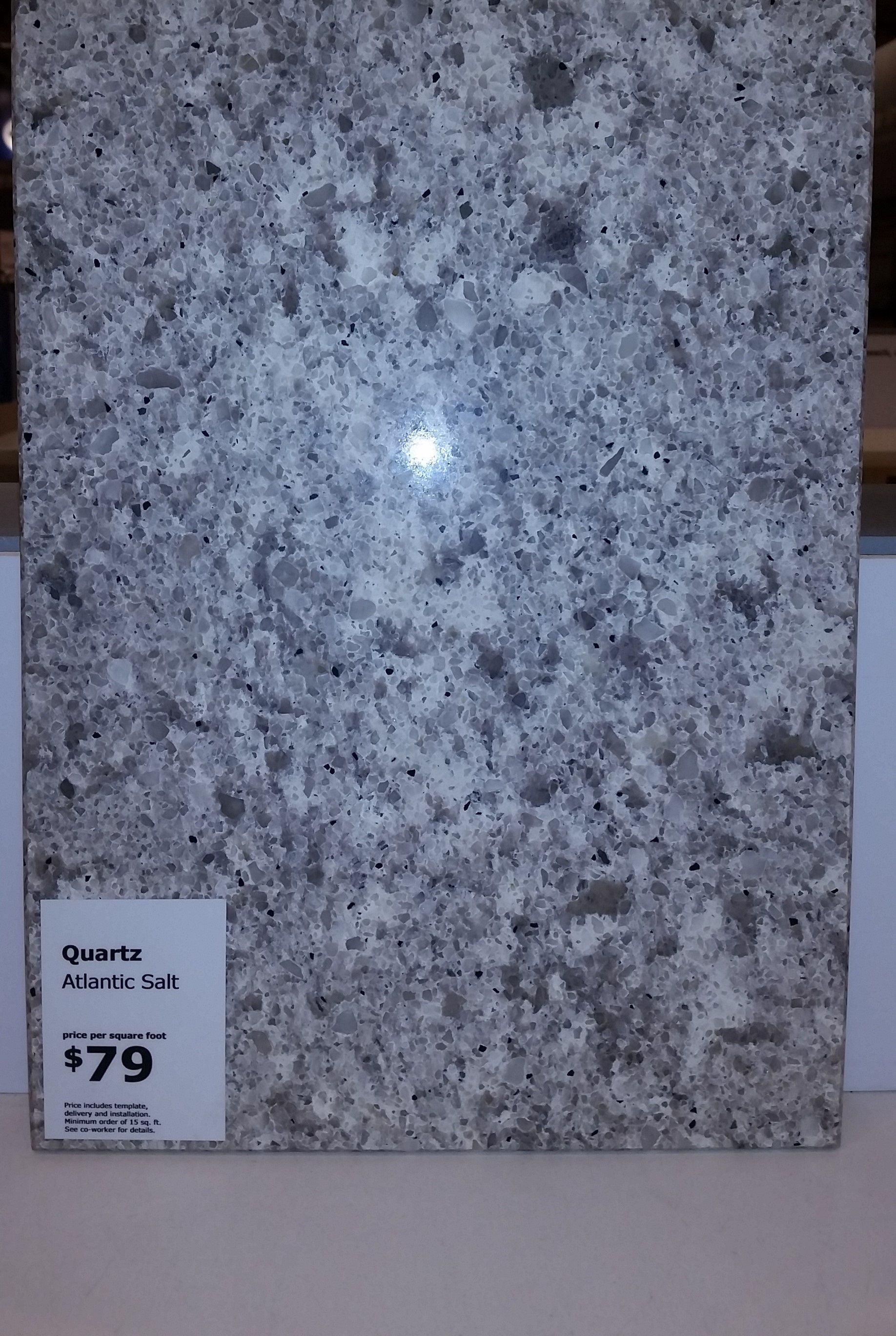 Ikea Atlantic Salt quartz countertop. Total cost $79 per square foot ...