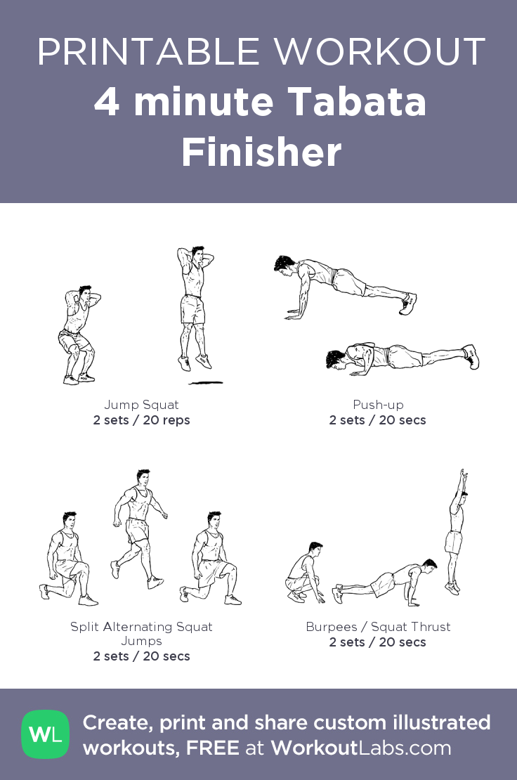 4 Minute Tabata Finisher Tabata Printable Workouts Tabata Workouts