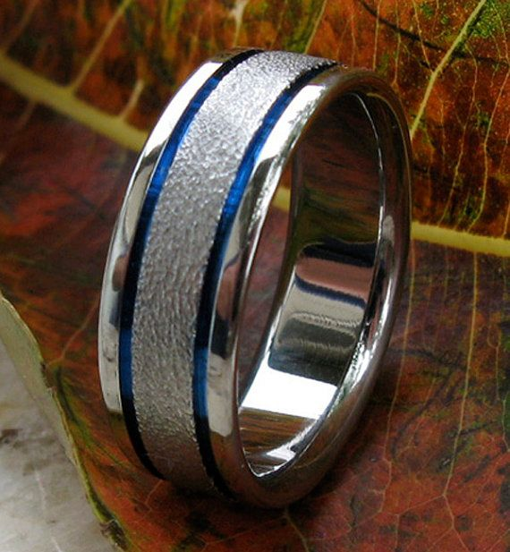 Unique Titanium Ring Thin Blue Line Handcrafted Frost Band Mans Wedding Womans