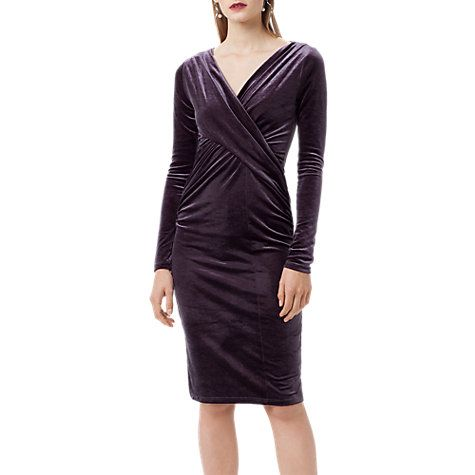 Flockton Charcoal Grey Crossover Velvet Dress Finery cAfgZfw