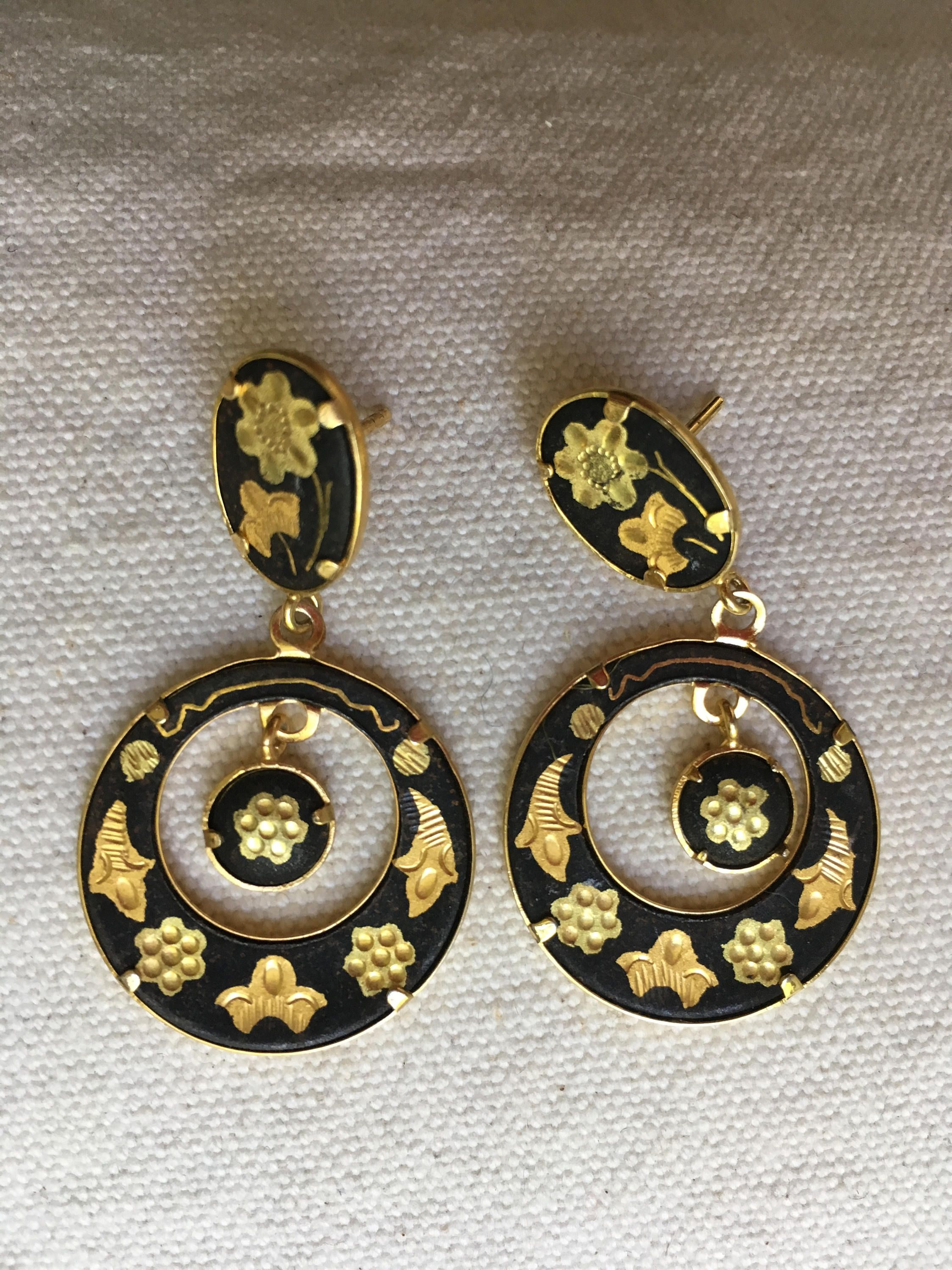 Vintage Damascene Earrings Spanish Pierced Toledo Jewelry