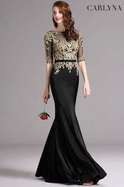 Robe de soiree sirene doree