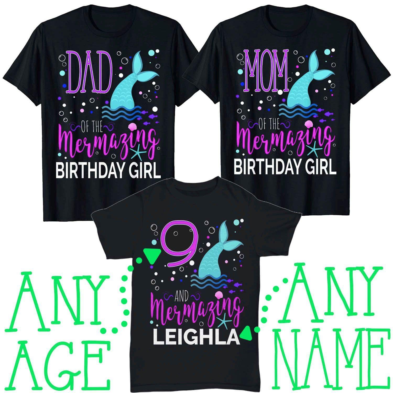 Mermaid Girls 10th Birthday Shirt 10 Years Old Party Gift