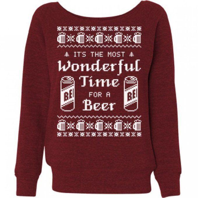 Beer Girl Ugly Sweater: Ladies Bella Wideneck Sweatshirt XL Red Triblend