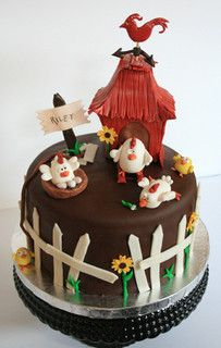 Groovy Chicken Farm Cake By My Sweet Cakery Via Flickr With Images Birthday Cards Printable Inklcafe Filternl