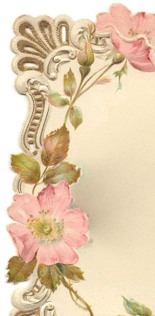 Victorian Card * Frame of SCROLLS & Wild ROSES | Our Cottage Garden