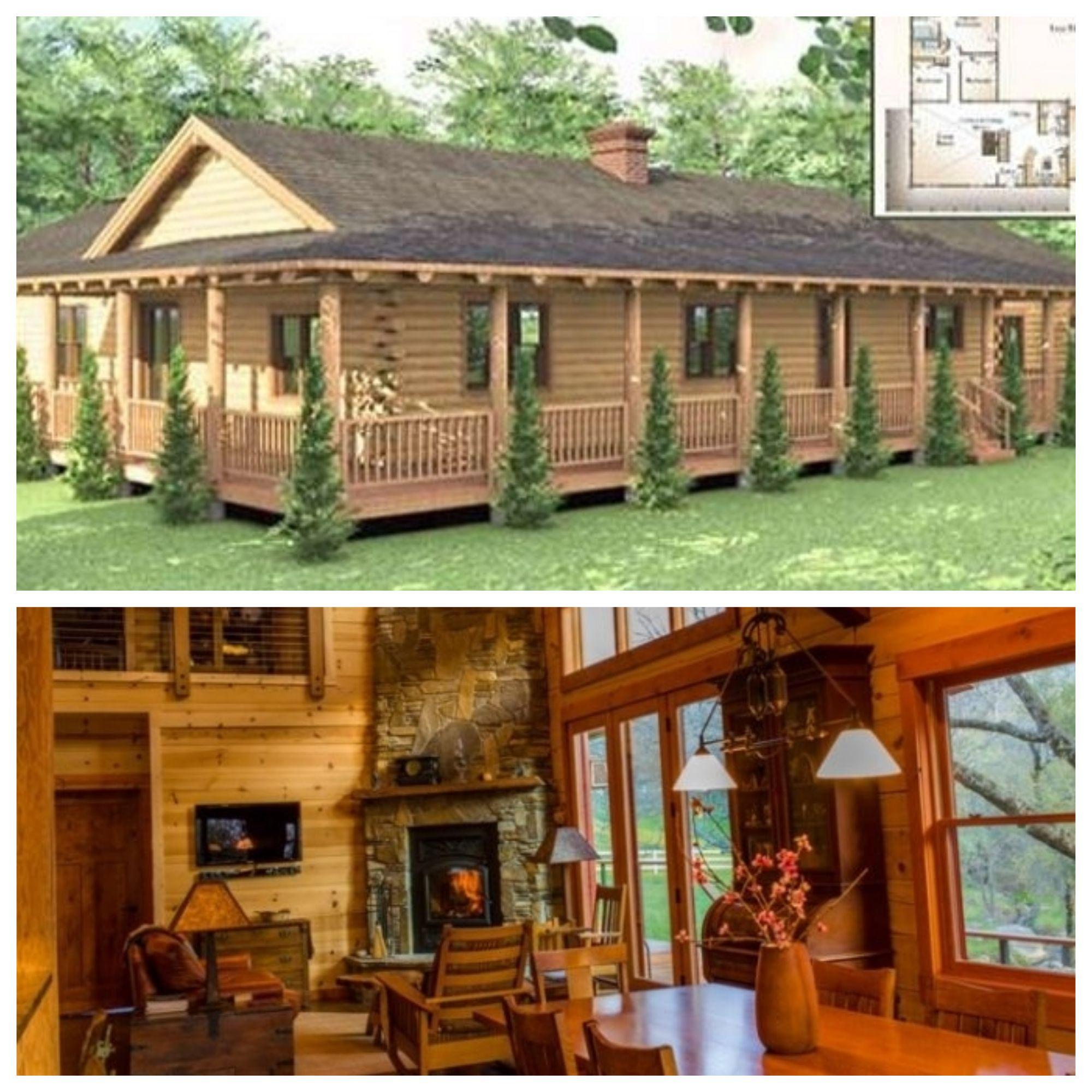 One Story Log House With Wrap Around Porch   Log homes, Log cabin exterior,  House