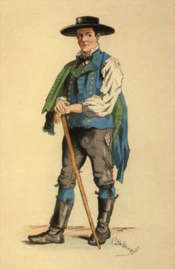 Bauer aus Alpirsbach (Kinzigtal) - Die Badischen Landleute Trachten und Bräuche in Schwartzwald,  Charles L'allemand,  1860