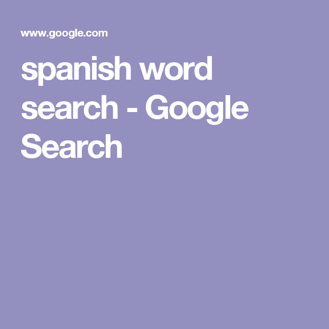 spanish word search - Google Search