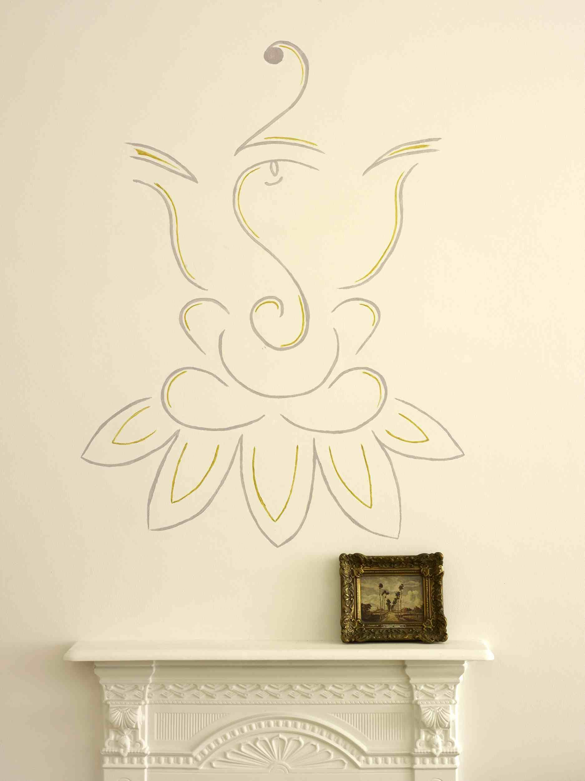 Simple line drawing of haand painted ganesh in anita kaushals house www anitakaushal