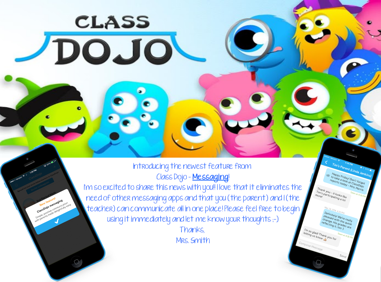 ClassDojo Messaging for teachers and parents! A way to