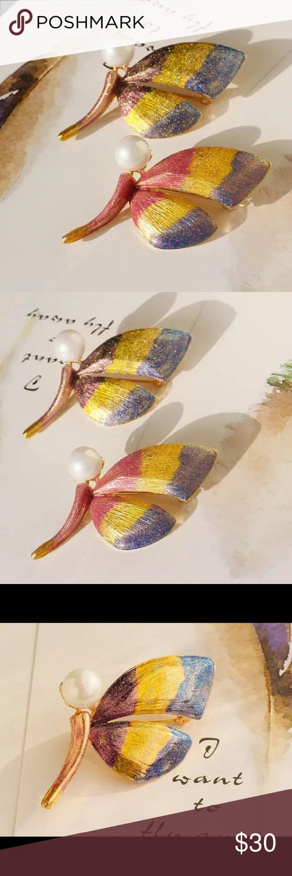 """🌸SPRING SALE🌸Lotus butterfly enamel brooch Lotus butterfly 🦋 enamel brooch // beautiful enamel with pearl // simple and gorgeous // available in both colors // about 2""""H x 1.5"""" W Lotus by 17L Jewelry Brooches"""