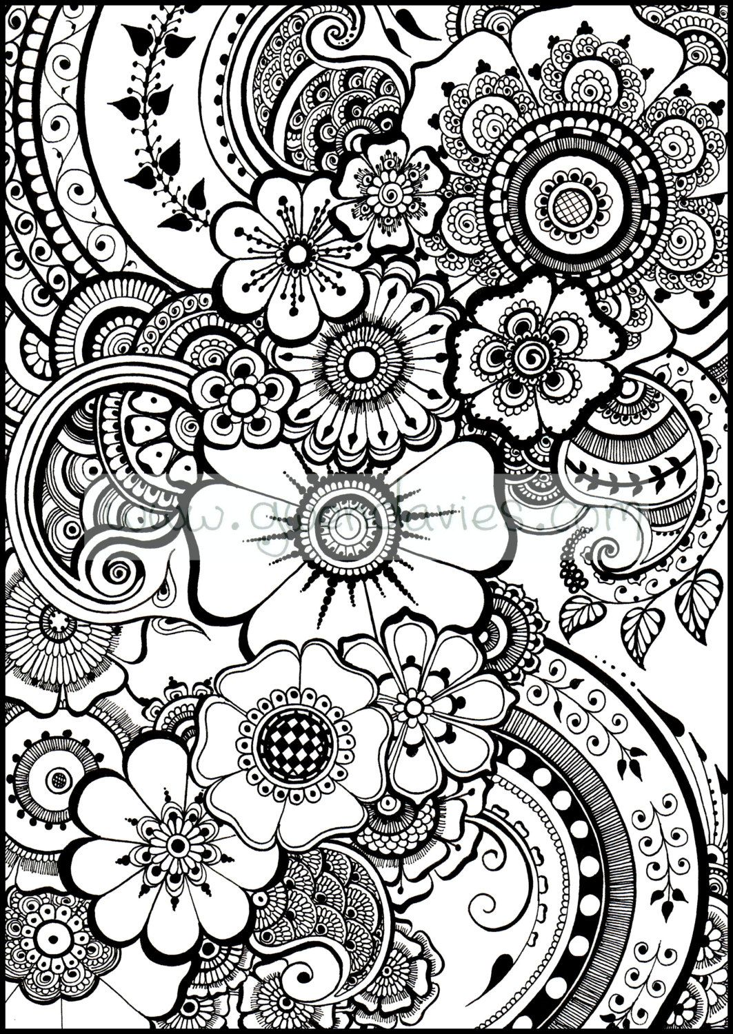 Beautiful Henna Flowers And Paisleys Colouring In Sheet Instant Download Paisley Coloring Pages Coloring Books Coloring Pages