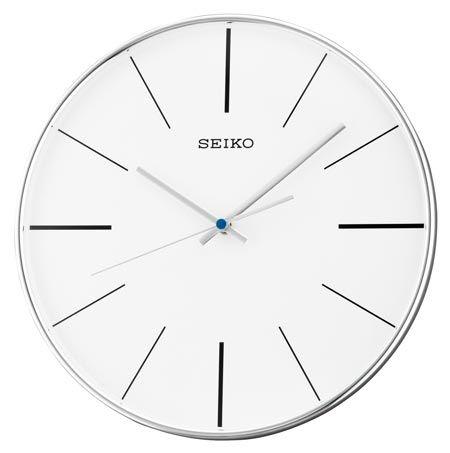 The Seiko QXA634ALH Fleur Wall Clock is a contemporary silver tone