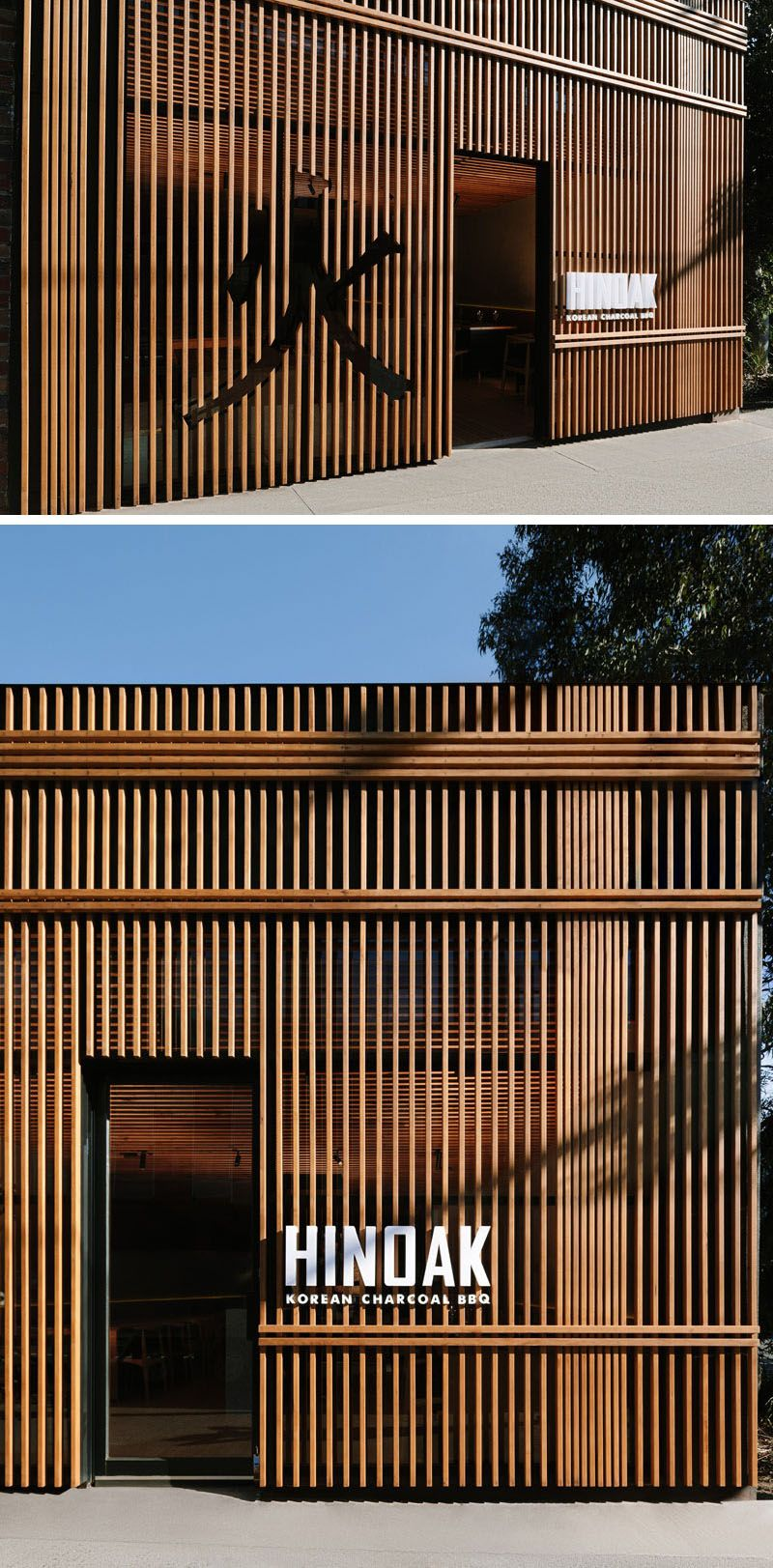 A Vertical Wood Exterior Is the Face Of This New Korean BBQ Restaurant