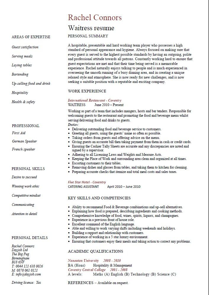 Restaurant Waiter Resume Example -    resumesdesign - description of waitress for resume
