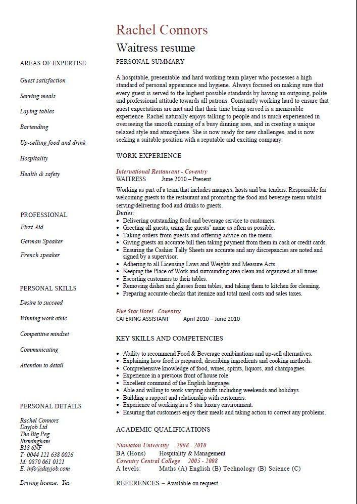 Restaurant Waiter Resume Example Resumesdesign Customer Service Resume Customer Service Resume Examples Job Resume Examples