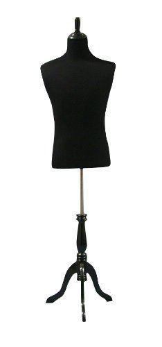 Black Male Mannequin Dress Form Size Large 403440 On Adjustable Black  Wooden Tripod Base **