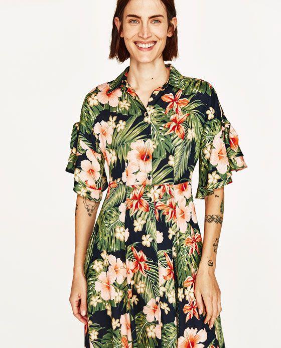 Image 4 Of Long Floral Print Shirt Dress From Zara