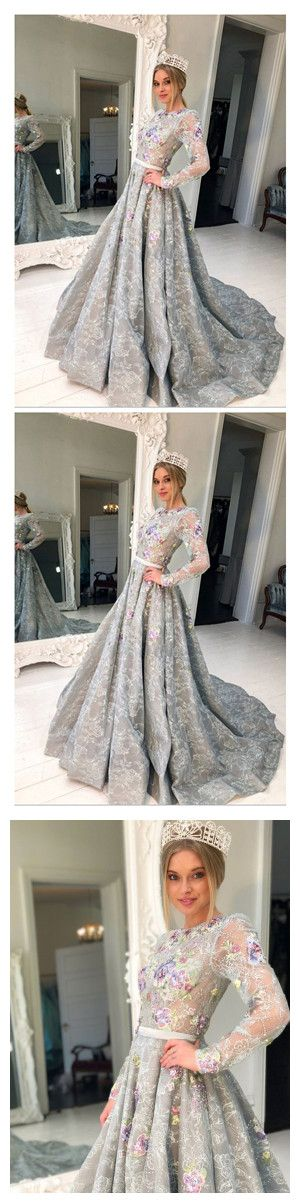 69cb55507c8 Long Sleeve Grey Lace Graduation Dresses For Junior Beaded Long ...