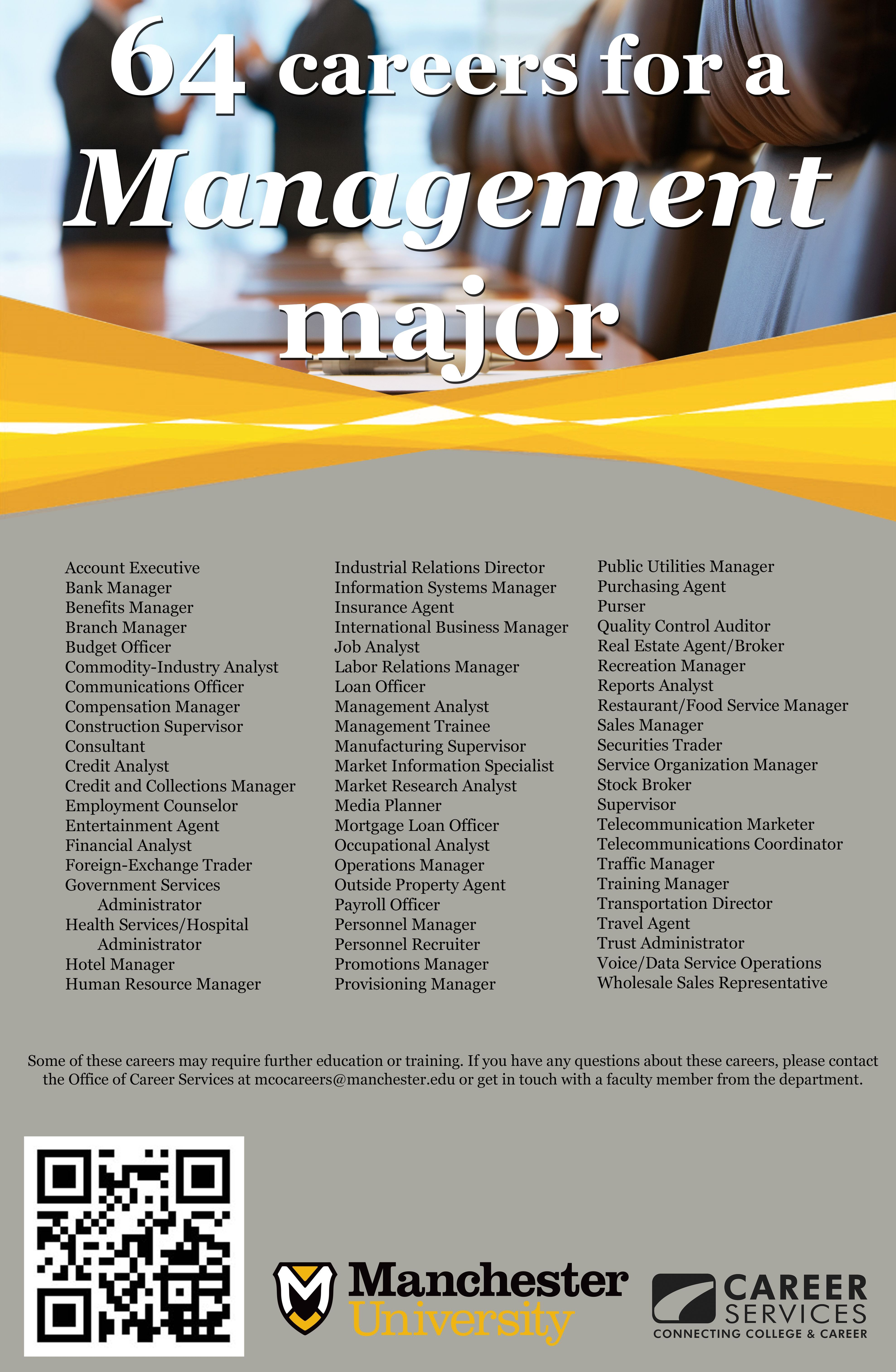 64 Careers For A Management Major Business Administration Degree Online Business Classes Business Management Degree