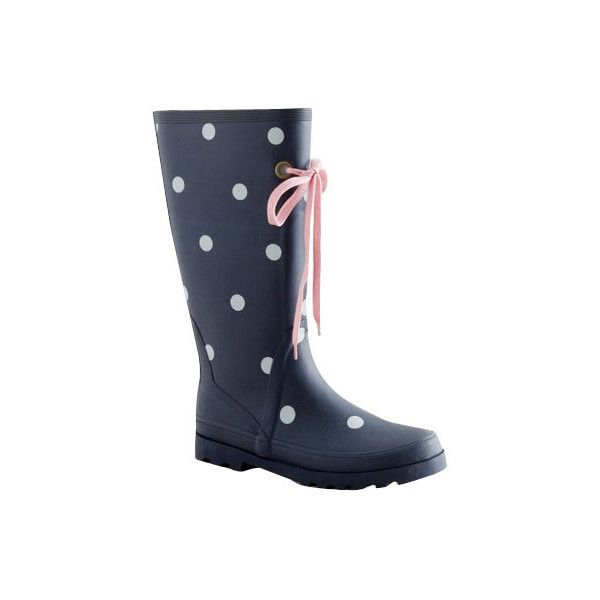J. Crew Other Navy Polka Dot Rain Boots With Pink Tie ...
