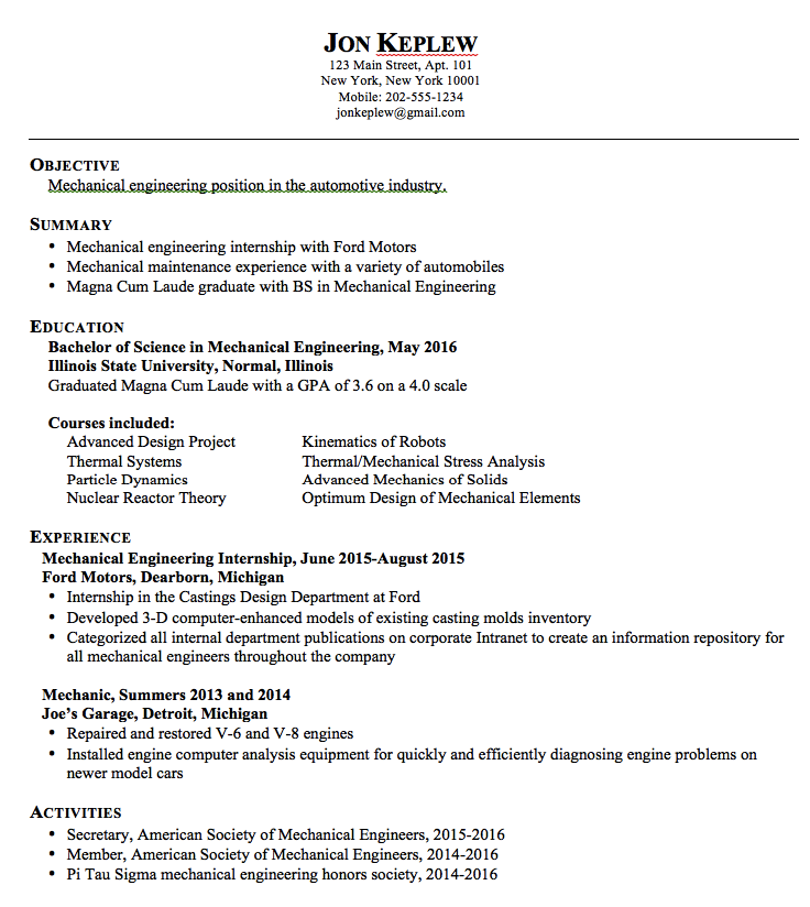 Mechanical Engineering Resume Mechanical Engineering Sample Resume  Httpexampleresumecv