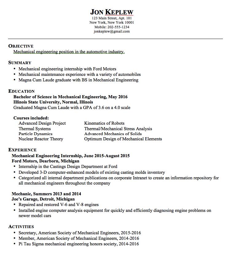 Mechanical Engineering Sample Resume Examples Resume Cv Nursing Resume Examples Engineering Resume Student Resume