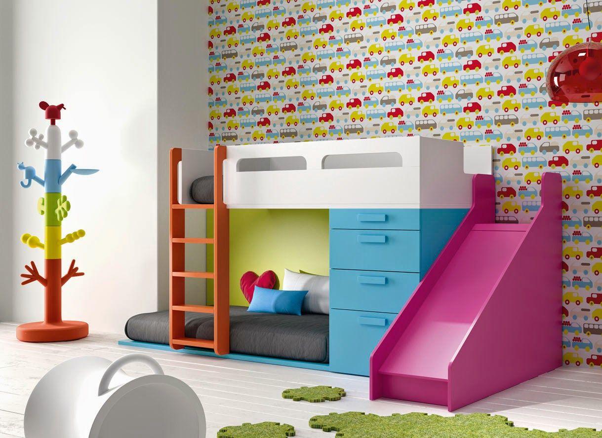 Cama tren infantil con tobogan recamaras literas - Muebles infantiles para habitaciones pequenas ...