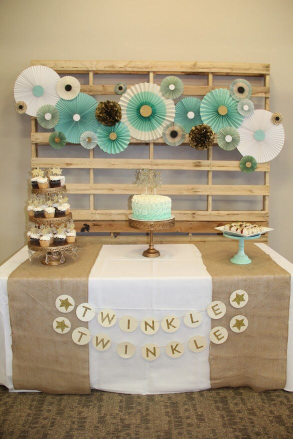Twinkle twinkle little star theme baby shower party for Baby shower wall decoration ideas