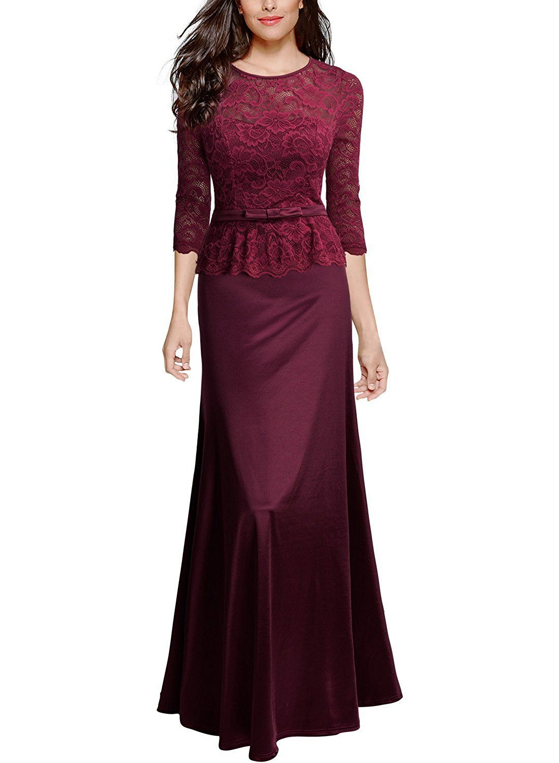 Miusol® Elegant Damen Spitzen Abendkleid 3/4 Arm Kleid Brautjungfer ...
