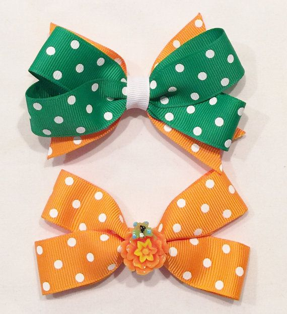Girls Polka Dot Bows Orange And Green Hair by LittleAsAccessories