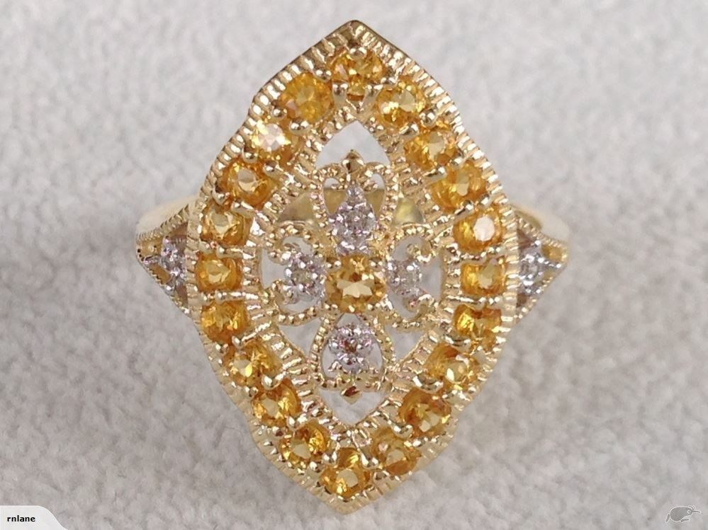 9CT SOLID GOLD GENUINE CITRINE & DIAMOND RING | Trade Me