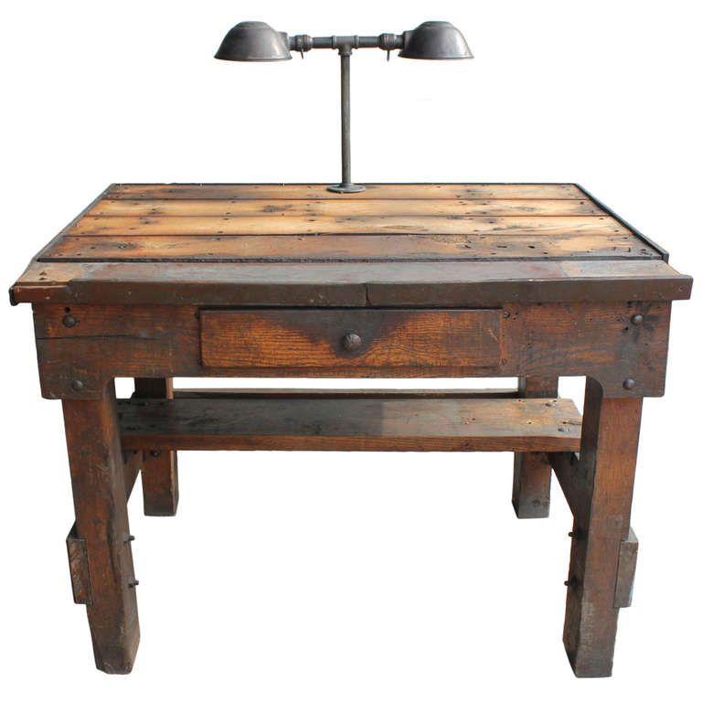 Antique Industrial Oak Desk With Double Lighting, 2 available - Antique Industrial Oak Desk With Double Lighting, 2 Available