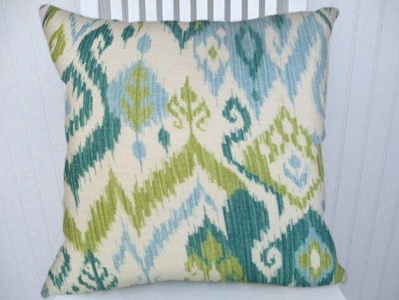 22X22 Pillow Insert Blue Green Ikat Pillow Cover 18X18 20X20 22X22 Duralee Teal Light