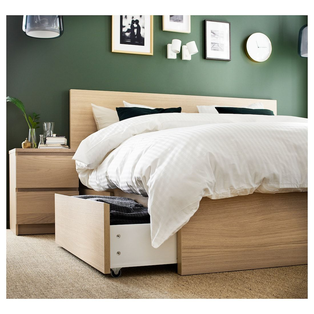 Malm High Bed Frame 4 Storage Boxes White Stained Oak Veneer