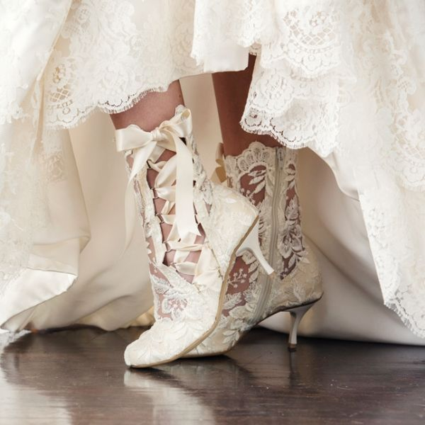 Wedding Boots Handmade Vintage Ivory Lace Ankle Lottie Elliot By House Of