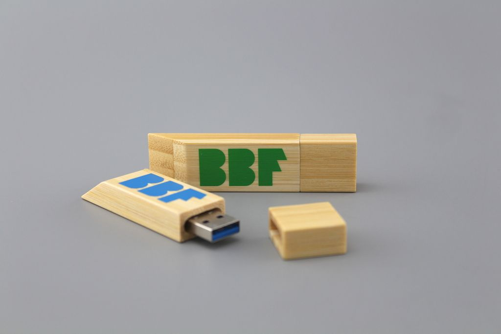 A USB flash drive with bamboo material - it comes with USB 3.0