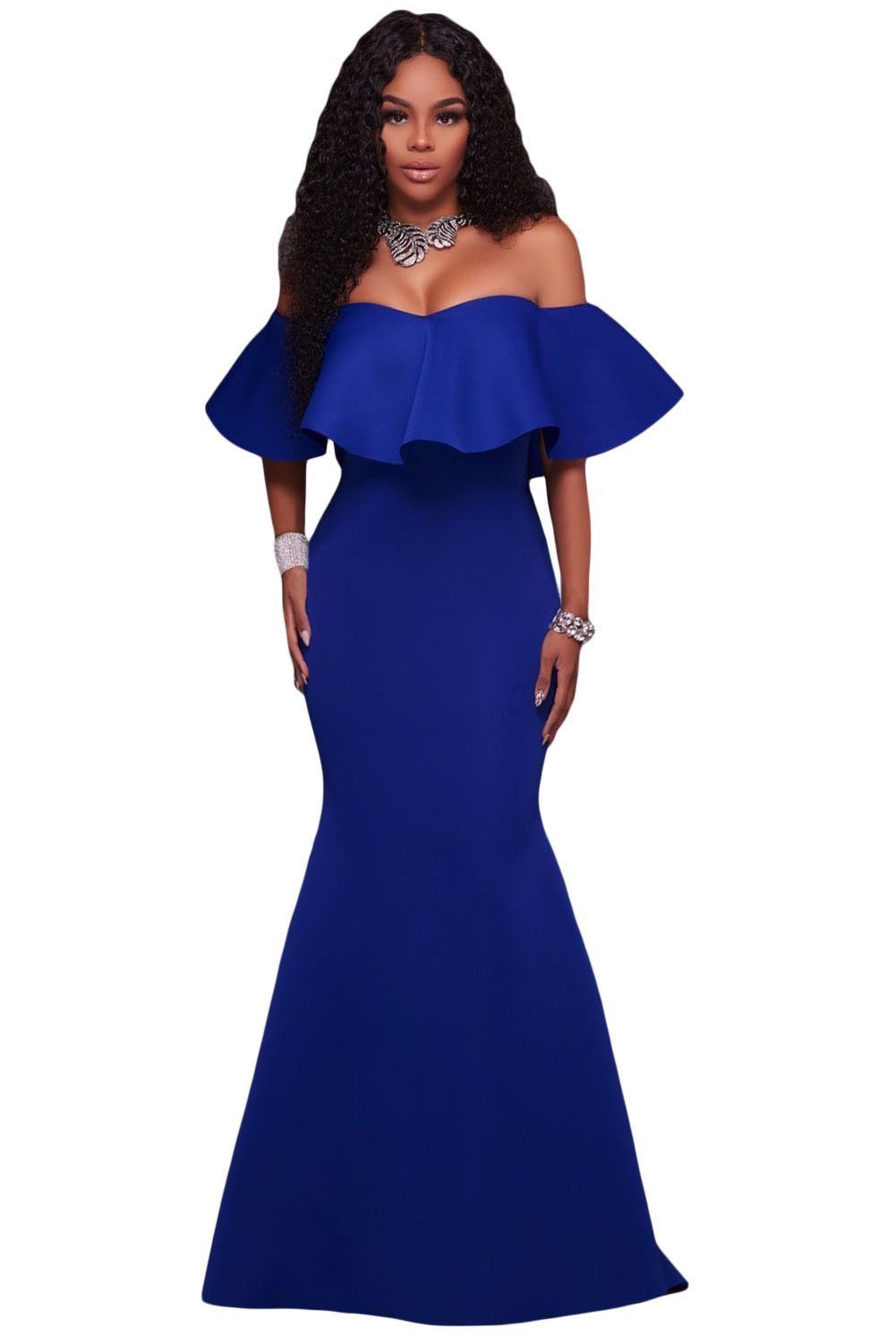 Royal Blue Ruffle Off Shoulder Ponti Maxi Party Dress CLOTHING in