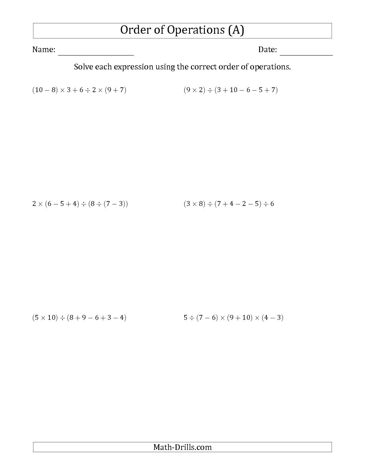 The Order Of Operations With Whole Numbers And No Exponents Six Steps A Order Of Operations Algebra Worksheets Math Worksheet