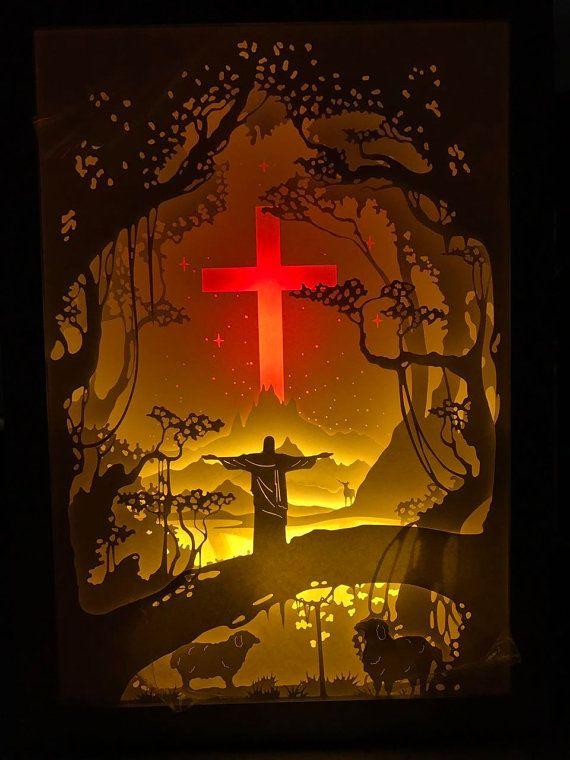Jesus paper cut light box light box dream box