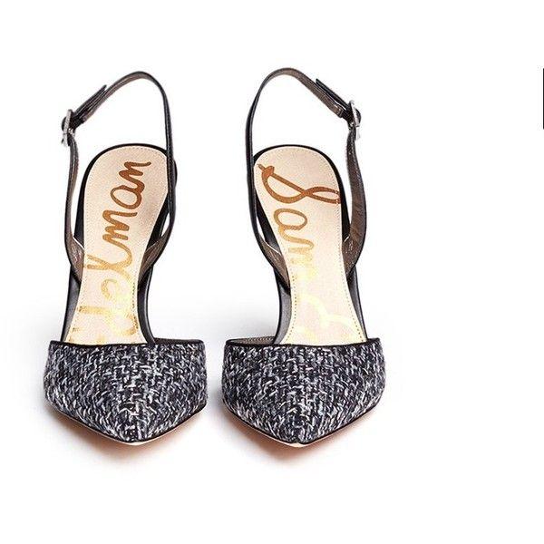 039a61024d81 Sam Edelman  Dora  leather bouclé tweed slingback pumps ( 160) ❤ liked on