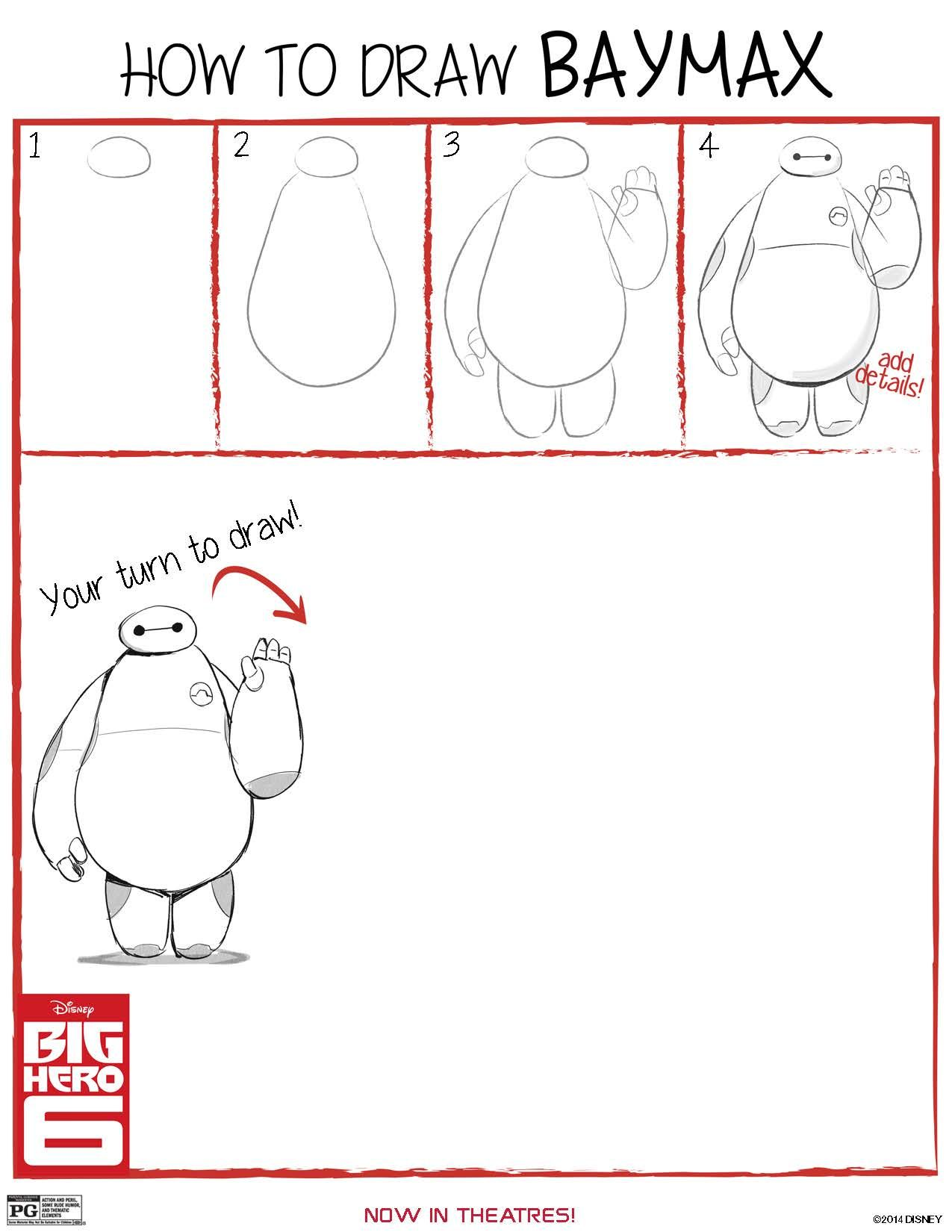 How To Draw Baymax From Big Hero 6 Free Printable Big Hero 6 Big