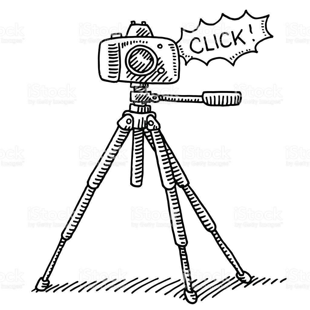 Handdrawn vector drawing of a Photography Camera on a