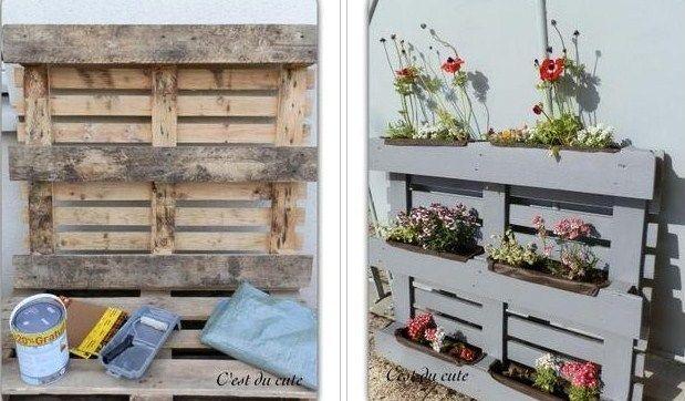 pingl par sylvie sur d co jardins jardini re palette. Black Bedroom Furniture Sets. Home Design Ideas