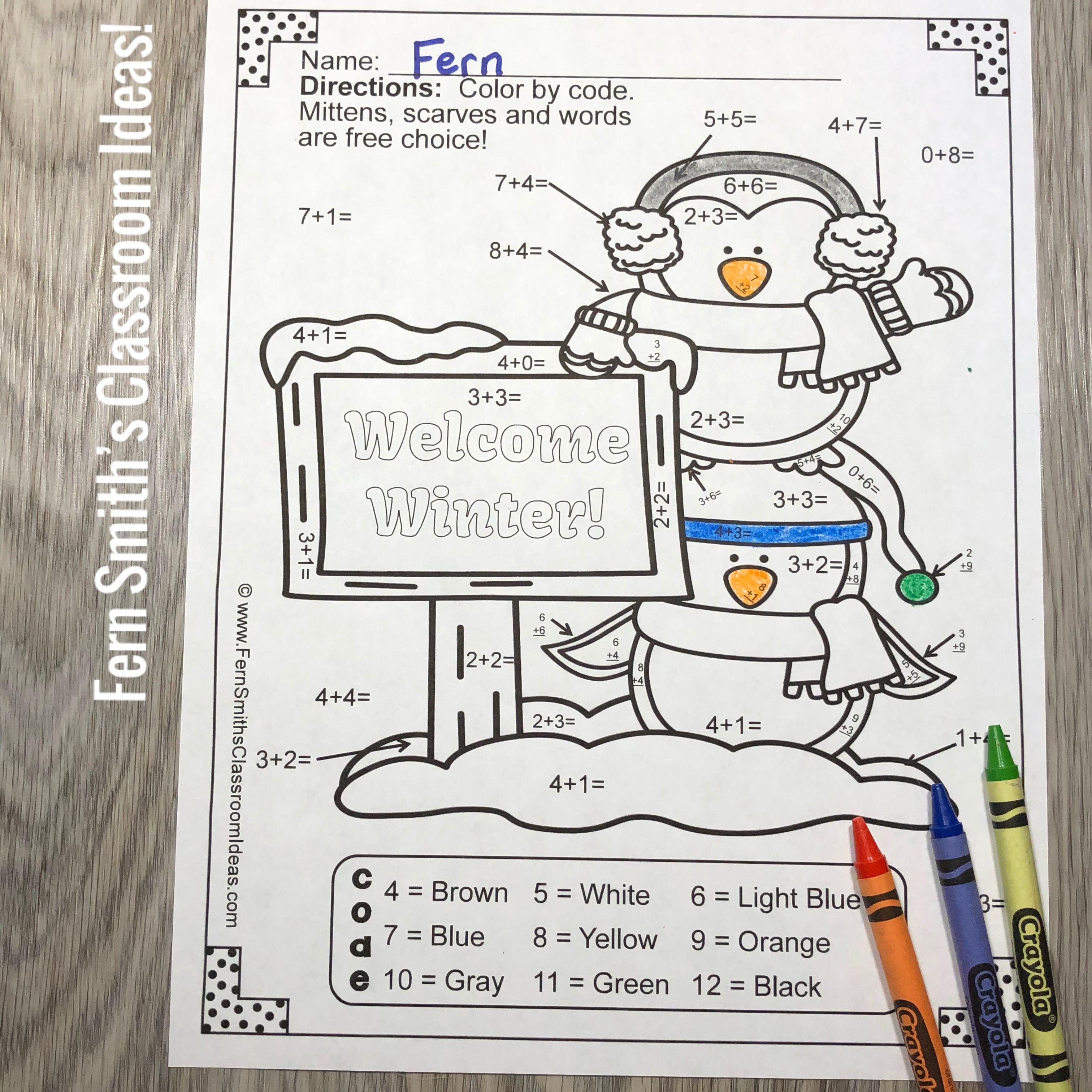 Winter Color By Number Addition And Subtraction Bundle Coloring Worksheets For Kindergarten Addition And Subtraction Fern Smith S Classroom Ideas [ 3024 x 3024 Pixel ]