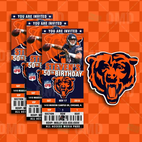 Chicago Bears Ticket Style Sports Party Invites Bears Tickets