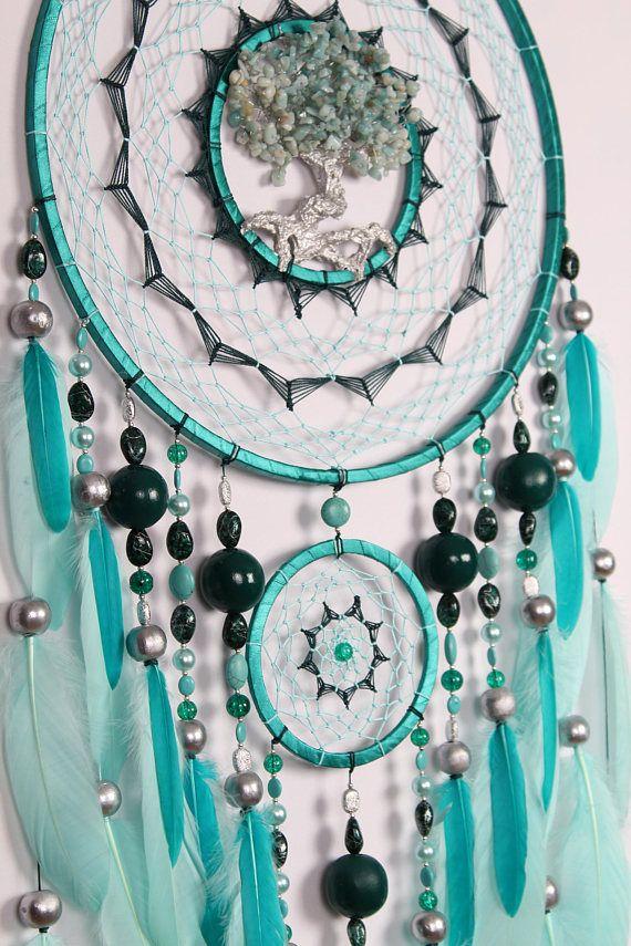 DreamcatcherShopUa - Large christmas gift Mint Dream Catcher Tree of life amazonite Dreamcatcher mint Dreamсatchers wall handmade amazonite mint tree of life